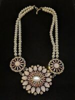 Vintage Estate Gold Tone Faux Pearl Pink Rhinestone Multi Strand Choker Necklace
