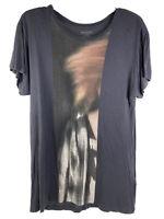 All Saints Graphic T-Shirt Men's Small Short Sleeve Scoopneck Gray Black Art