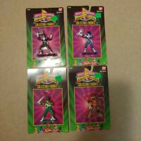 Lot of 4 Mighty Morphin Power Rangers Collectible Figures Black Blue Green Alpha
