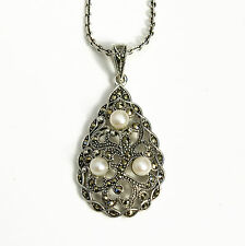 Noble Jewel Filigree Marcasite Pearl 925 Sterling Silver Pendant Anchor Chain