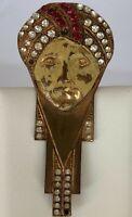 BROCHE ART DECO AFRICANISTE PINCE A BILLET 1930 REHAUSSE STRASS PEINTURE  C2159