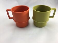 Tupperware Coffee Cups/Mugs ~Set of 2 Vintage Mugs ~Green & Orange Color ~ RETRO