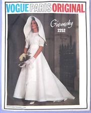 VINTAGE anni'60 VOGUE Paris Original 2252 GIVENCHY Abito da sposa Sewing Pattern B36