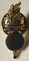 Vintage 1984 AT&T Olympic Torch Gold Tone Advertising Logo Lapel Hat Pin *Rare