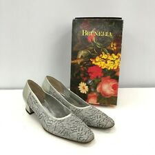 Vintage Brunella Logo Leather Court Shoes UK 7.5 Silver Gold Low Heel 291908