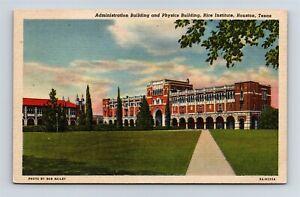 Postcard TX Houston Texas Rice Institute Admin Building & Physics c1938 AB19