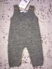New Zara Baby Boy Girl 100% Alpaca Grey Knit Overalls Coverall Suit 1-3M