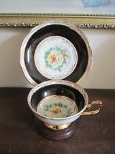 Regency England Bone China Tea Cup And Saucer Black Large Cabbage Yellow Rose