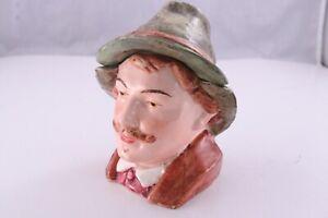 Vintage Antique Figural Pottery Tobacco Jar Humidor Man In Hat Dutch 1800-1900's