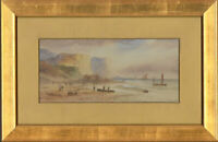 E. Lewis - 1899 Watercolour, Calm Coastal Scene with Figures
