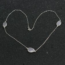 Solid 925 Sterling Silver Jewelry Tumble Checker Rose Quartz Necklace SN2127