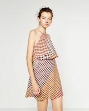 Zara trafaluc Frayed Check Summer dress, gingham small new with tags