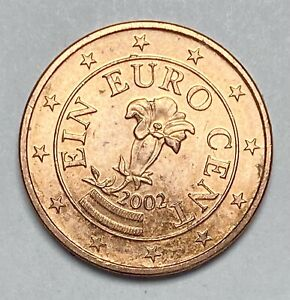 2002 Austria 1 Cent Euro Uncirculated Copper Plated Steel Coin  (3658)