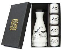 Japanese Shrimp Design Porcelain Sake Set 1 Bottle and 4 Cups in Gift Box