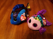 New with tags Set of Two Ty Beanie Boo Flippy and Aqua Fish