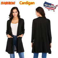 Women's Long Sleeve Cardigan Open Front Loose Top Casual Coat With Pocket Winter