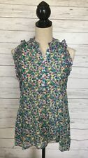 BCBG MAXAZRIA Floral Sleeveless Ruffle Frayed Silk Blend Blouse~XS