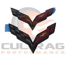 2014-2018 C7 Corvette Genuine GM Carbon Flash Black Front & Rear Bumper Emblems