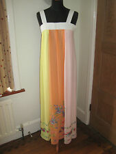 LAURA LEES MAINLINE silk maxi DRESS orange 10 long new embroidery wedding