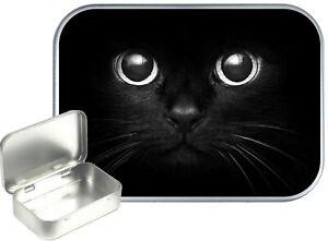 Cats Eyes Small Silver Hinged Gift Tin,30ml Hinged Tobacco Tin, Pill  Tin, Craft