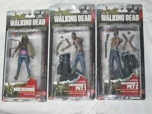 Three Mcfarlane Toys The Walking Dead Series 3 Michonne's Action Figures Lot New