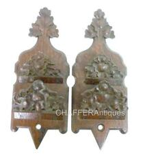 Victorian Hand Carved Wooden Oak Wall Pockets / Letter Holders (Pair)