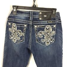Miss Me Signature Skinny Women's Jeans Size 27 Distressed Wash Bling low rise