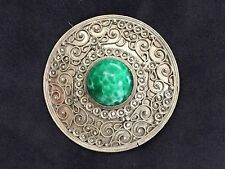 VINTAGE 900 SILVER BROOCH WITH MARCASITE AND LARGE MALACHITE CABOCHON