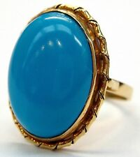 14k Yellow Gold Oval Turquoise Edged Ring