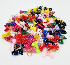 20X Polka Dot Dog Hair Bows W/Rubber Bands For Puppy Pet Grooming Accessories