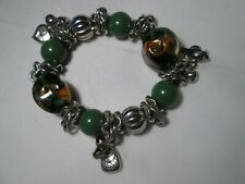 Vintage Chunky Charm Anklet with Green & Marbled Beads and Charms