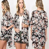 US Seller Women Floral Chiffon Kimono Cardigan Blouse Beach Bikini Cover Up Tops