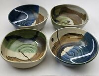 4 Christopher Bragg Pottery Ceramics Hand Thrown Art Stoneware Bowls Signed!