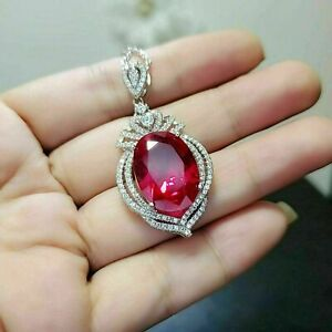3.0 Ct Ruby Engagement & Wedding Drop Pendant Without Chain 14K White Gold Over