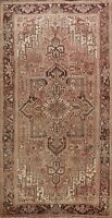 Antique Geometric Muted Coral Red Heriz Area Rug Wool Hand-Knotted 8'x11' Carpet