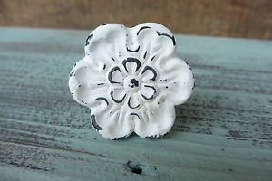 Shabby Chic  Cast Iron Distressed Chippy WHITE Flower Knobs - Metal Drawer Pulls