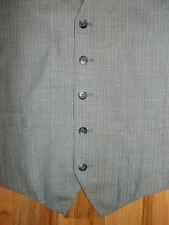 Vest Mens 39R Waistcoat Gray Pinstripes Lined Dress 2 Pockets 5 Buttons V136