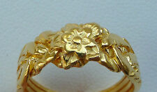 Rose Flower Band Puzzle Ring Scroll Knot Chain Design 14k Gold Plated SZ 4 5