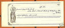 1890 PROMISSORY NOTE 1st National Bank Gettysburg PA UN Lady Liberty Graphic