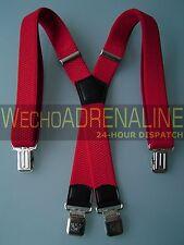 MENS MEN BRACES SUSPENDERS RED 40mm! X-shape! HEAVY DUTY FREESTYLE SNOW BRACES