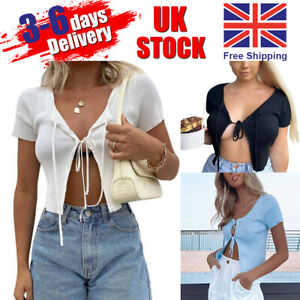Women Lady Sexy Knit Open Front Tie Up Short Sleeve Cardigan Crop Tops Summer