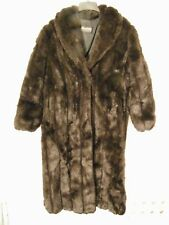 Ladies Monterey Fashions Black Long Faux Fur Coat Size Medium Made In USA