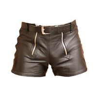 MENS Brown 100% GENUINE LEATHER SHORTS with DOUBLE ZIPPER