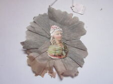 ANTIQUE VICTORIAN LADY CUTOUT ON CREPE PAPER CHRISTMAS DECORATION
