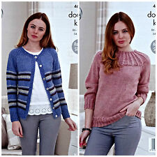 KNITTING PATTERN Ladies Striped Cardigan &Textured Yoke Jumper DK King Cole 4685