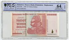 Zimbabwe 20 Trillion Scarce Replacement Banknote Graded PCGS Choice UNC 64