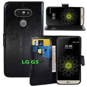 NEW BLACK WALLET LEATHER GEL CASE WITH CARD SLOT FOR LG G5 UK FREE DISPATCH