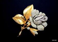 Crown Trifari Alfred Philippe Pave Crystal Flower Rose Brooch Pin Sagaofluck