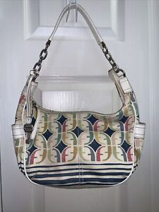 Fossil Cloth Leather Bucket Bag Purse LoGo  Multicolor Print