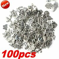 100Pcs Mixed Silver Pendants for DIY Unique Crafts Charms Jewelry Making Decor